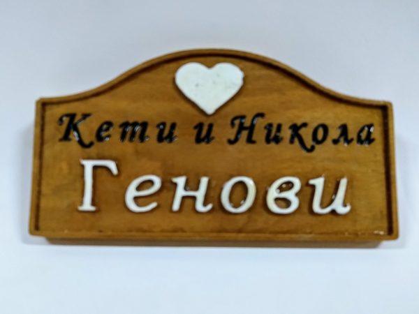 табела за врата от бук с бели букви