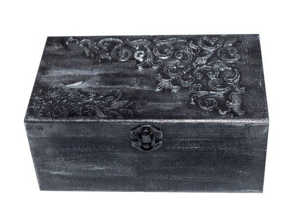 Дървена кутия с метален ефект за бижута, подарък, ръчна изработка