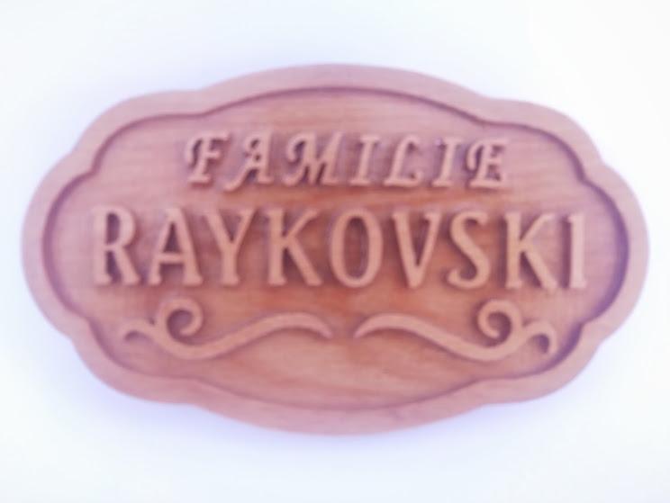 Wooden door sign with embossed letters